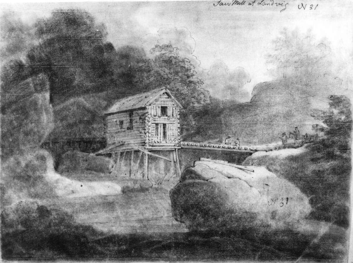 "LandvikFra skissealbum av John W. Edy, ""Drawings Norway 1800""."