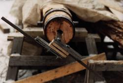 Fra restaureringen av en steinheisekran som ble funnet under