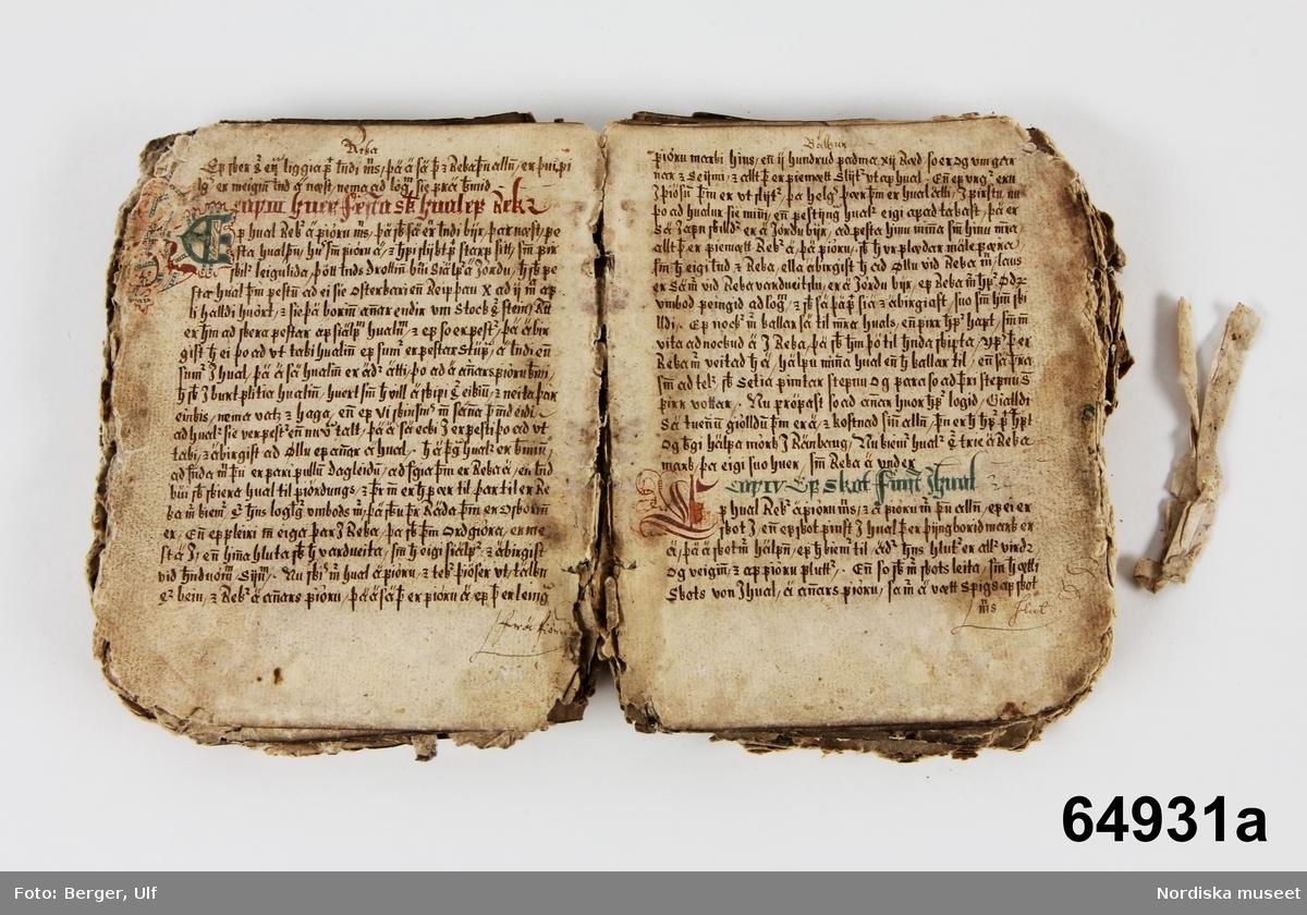 """Huvudliggaren: """"Handskrift fr. Island. a) Den gamla Jonboken (lagbok), afskrifven i Pikk(u)aboe [se huvudliggaren] 1622, uppgift af R.A [Rolf Arpi]; med målade initialer m.m.. Ej inb. Kvarto (storlek) Innehåller 130 blad.  Mycket söndrig, början och slutet saknas. b) samma bok, afskrift, inb. i skinnklädda pärmar; kvarto [storlek], Innehåller 222 blad, hvaraf 4 blanka. Några blad söndriga och lagade i kanten.  c) Eyrbyggia redur Förnesinga Saga, inb. i rödaktigt pergament; folio. innehåller 114 blad, hvaraf 2 blanka. Slutet saknas. Ink. af prästen Helgi Sugurdsson i Akranes, Island, jämte 64.928-65.103 [...] ank. 27/1 1888. Bil. 34.1889."""""""