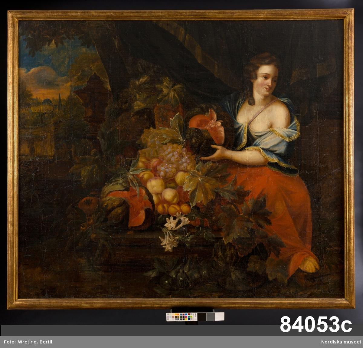 """Huvudliggaren: """"a-d 4 dörröverstycken. Oljemålad duk utan ramar. Framställande kvinnofigurer, omgifna af blommor och frukter. a. H. 1,55. B. 1,37.  b. H. 1,58. B. 1,39. c. H. 1,38. B. 1,60. d. H. 1,38. B. 1,60.""""  Utdrag ur bilaga: """"På nåd. befallning öfverlämnas härmed som gåfva till Nordiska Museet följande, ursprungligen den af H.M. Konungen inköpta Mälsåkerssamlingen tillhörande taflor: /.../ 1600-talet /.../ 4 dörrstycken. oljemål. duk, utan blindramar.""""    Katalogkort: """" Oljemålning på duk. H 1,55, Br 1,37 m. Kvinnofigur i blå klänning och röd mantel, håller vindruvsklasar, omgiven av frukter. I bakgrunden romerskt landskap. A: 1 med krita 'No 2'. B= 'ursprungligen den af H.M Konungen inköpta Wälsåkerssamlingen tillhörande taflor.' """""""