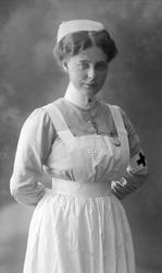 Portrett, sykepleier. Frøken Gahrsen.