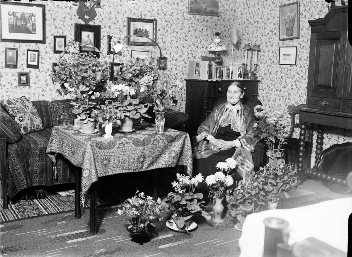 """Födelsedagsporträtt - """"fröken Granvik"""" 80 år, de Geerska gården, Kungsängsgatan 6, Uppsala 1934"""
