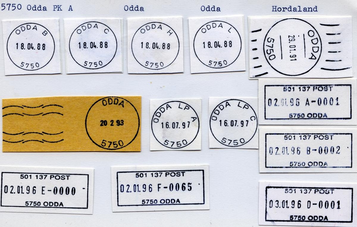 Stempelkatalog  5750 Odda, Odda kommune, Hordaland