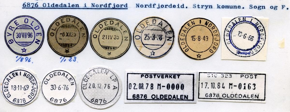 Stempelkatalog  6876 Oldedalen i Nordfjord, Stryn kommune, Sogn og Fjordane (Øvre Olden 1.8.96)