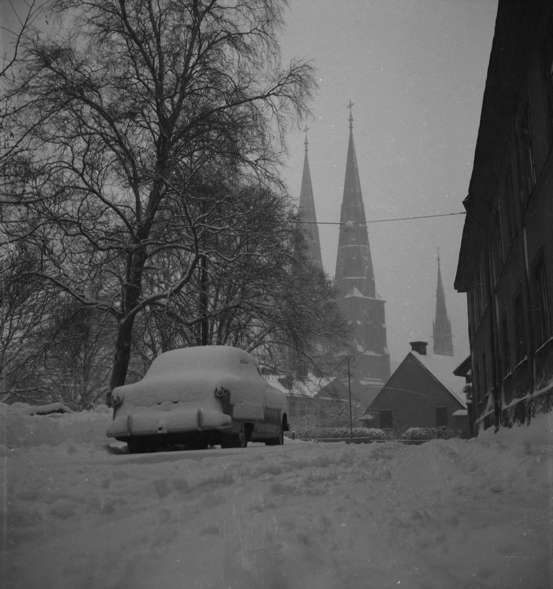 Vinter - snöstorm, Uppsala januari 1954