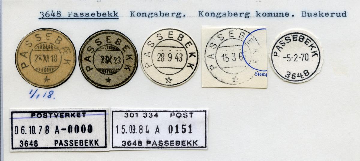 Stempelkatalog 3648 Passebekk, Kongsberg, Buskerud