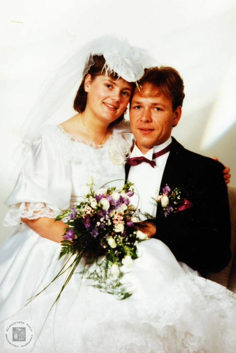 Brudebilde av Rakel og Dagfinn Flottorp. Audnedal.