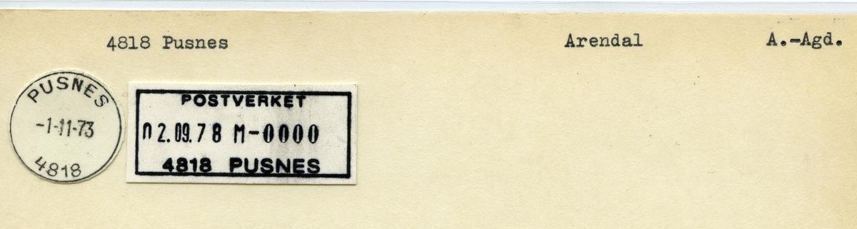 Stempelkatalog 4818 Pusnes, Arendal, Aust-Agder