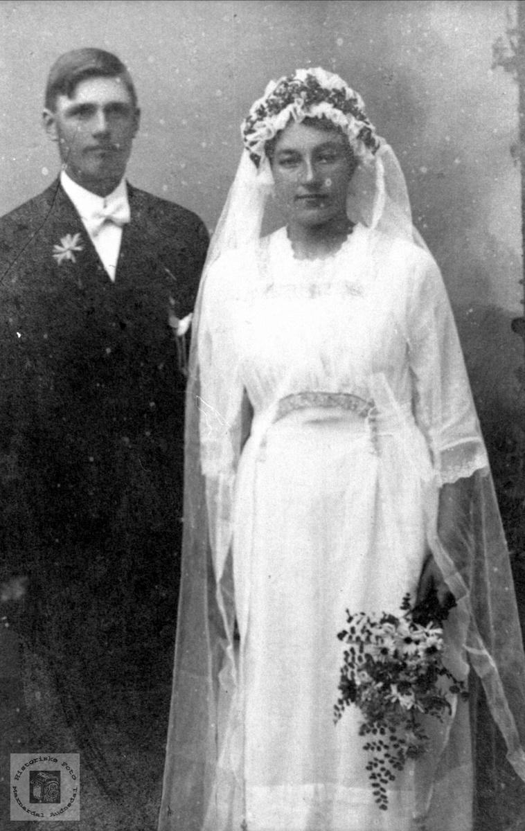 Brudebilde av Torvald og Maria Moland. Bjelland.