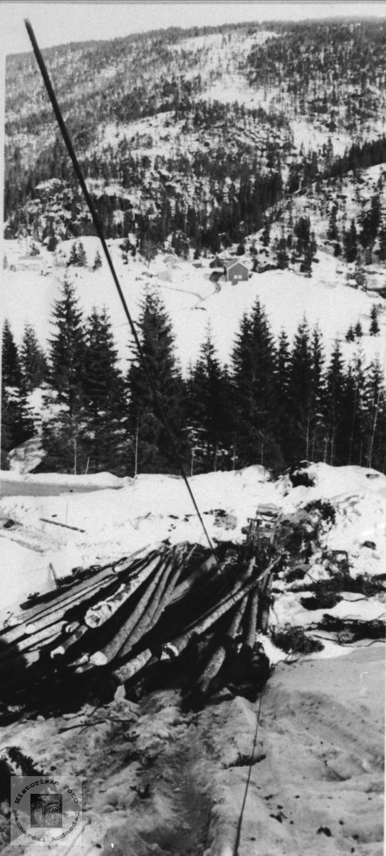 Tømmerdrift i Sundet, Bjelland.