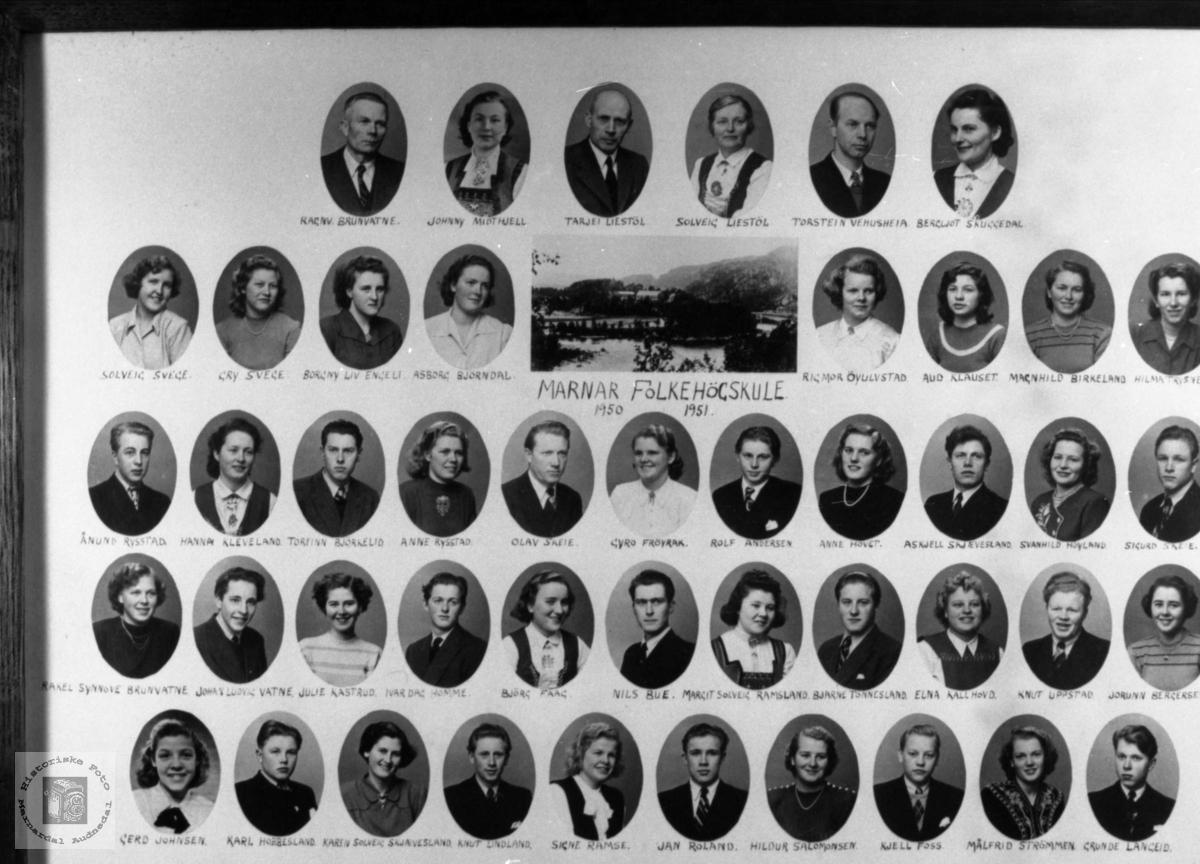 Marnar Folkehøgskole 1950-1951. Øyslebø