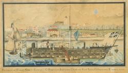 Prospect af fangeskibet Samson i Gillinghams Bay wed Chattam