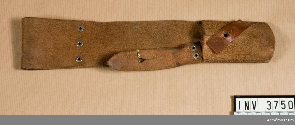 Bajonetthylsa.Hylsa av läder t knivbajonett m/1896 (variant).