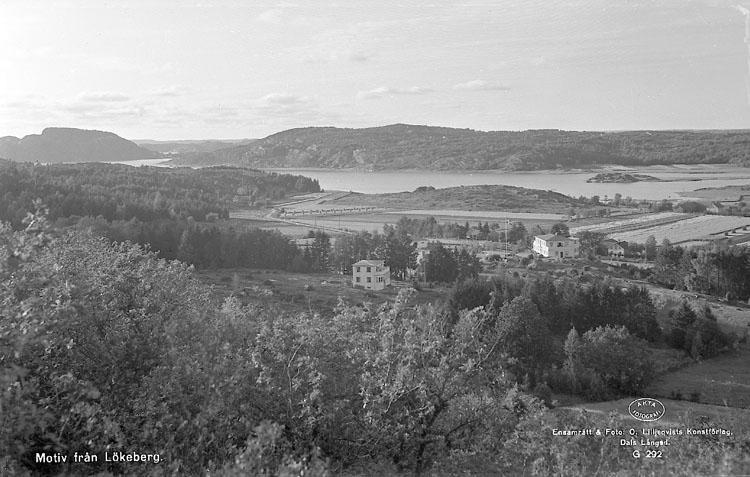 """Enligt AB Flygtrafik Bengtsfors: """"Lökeberg fr. berget m. pens. Bohuslän"""". Enligt text på fotot: """"Motiv från Lökeberg""""."""