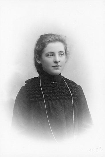 """Enligt noteringar: """"Linnea Lindqvist."""" Stämpel på fram sidan: """"Atelier Svea, Karlshamn, Ronnebygatan 20."""" Inpräglar på fotot: """"1904."""""""