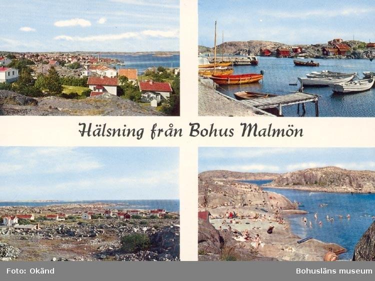 """Tryckt Text på kortet: """"Hälsning från Bohus Malmön"""". """"Förlag: AB H. Lindenhag, Göteborg""""."""