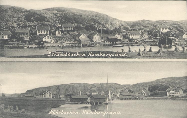 """Tryckt text på kortet: """"Strandbacken, Hamburgsund"""". """"Hökebacken, Hamburgsund""""."""