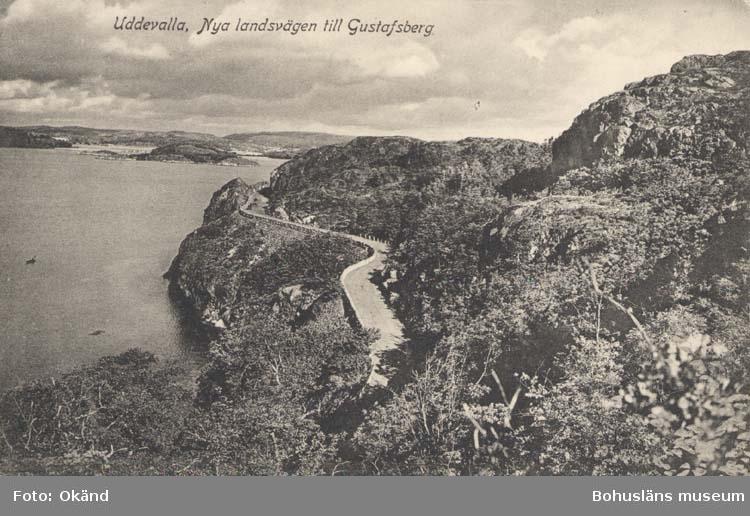 """Tryckt text på kortet: """"Uddevalla. Nya landsvägen till Gustafsberg."""" """"Förlag: Rosa Nilssons Pappershandel, Uddevalla."""""""