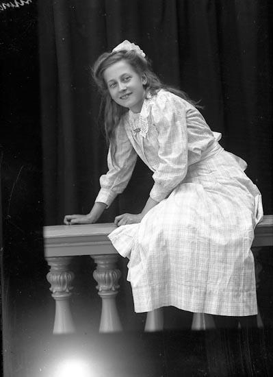 """Enligt fotografens journal Lyckorna 1909-1918: """"Hagelin, Fr. Maja Alingsås""""."""