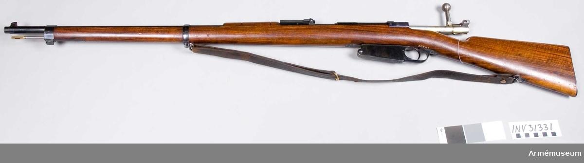 Samhörande nr 31331-3 gevär, bajonett, balja. Gevär m/1890 (m/1891?), Argentina. Grupp E II.