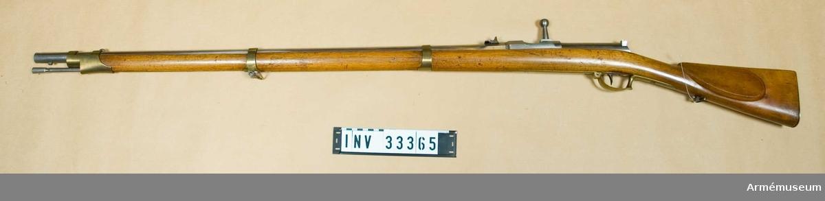 Grupp E II 4 st räfflor. Saknar tillverkningsstämplar och är endast märkt nr 2. Detta kan tyda på att det är ett försöksvapen för svenska armén. Kal 14,3 mm, D ?