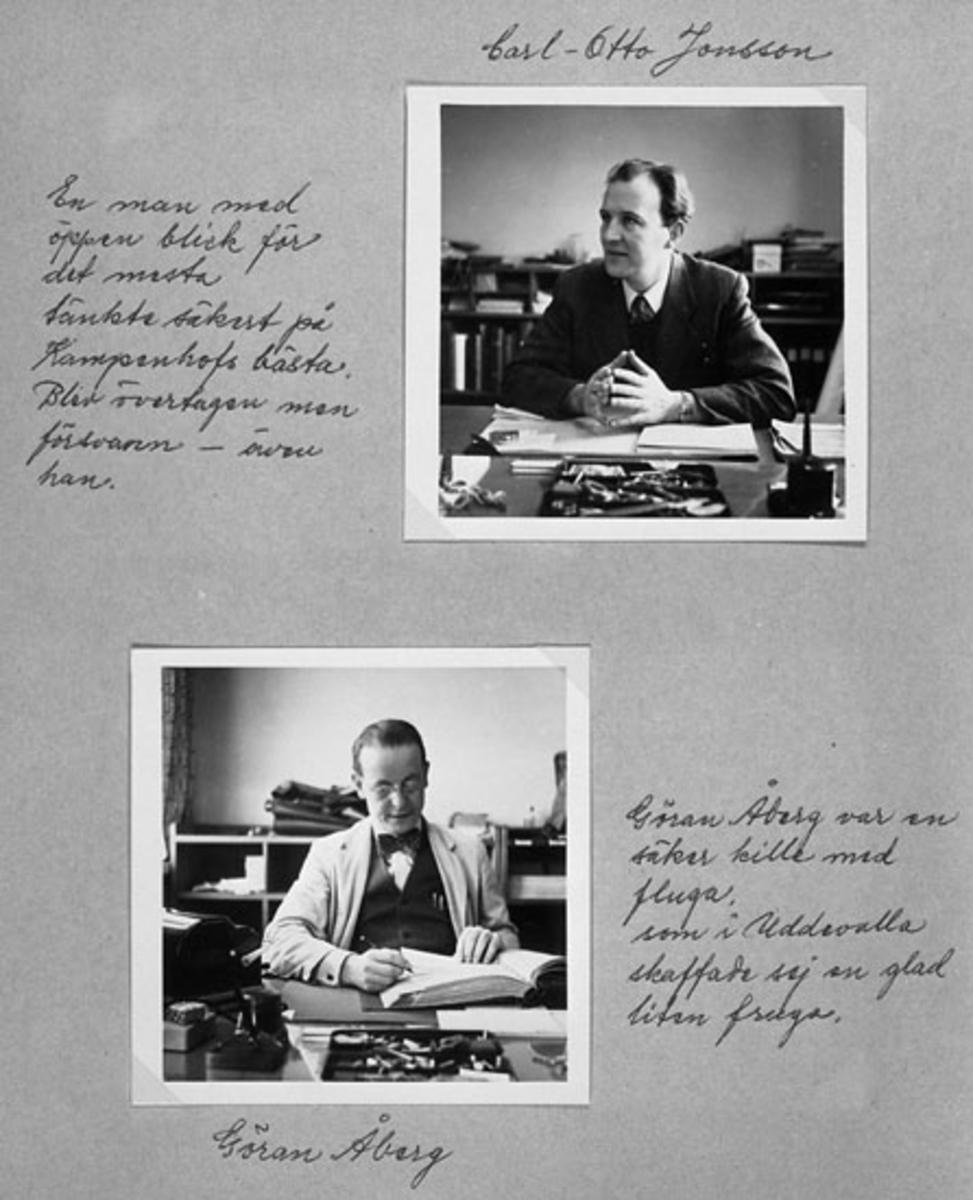 Övre bild: Karl-Otto Jonsson En man med öppen blick för det mesta tänkte säkert på Kampenhofs bästa.  Blev övertagen men försvann- även han. Undre bild: Göran Åberg Göran Åberg var en säker kille med fluga, som i Uddevalla skaffade sig en glad liten fruga.