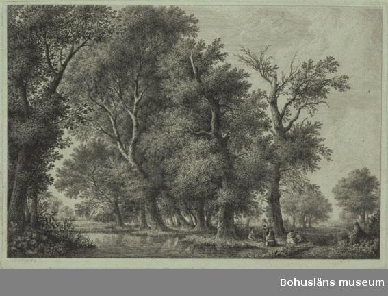 Ur handskrivna katalogen 1957-1958: Schwanberger: Landskap Mått: 52 x 36,4 cm. Gravyr inom glas. Landskapsmotiv 1809.  Inte glasad sedan år 1984.