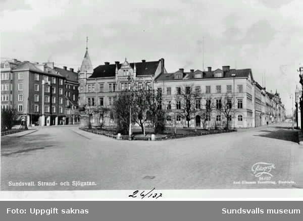 Kvarteret Mercurius, Sjögatan, Strandgatan. Vykort.