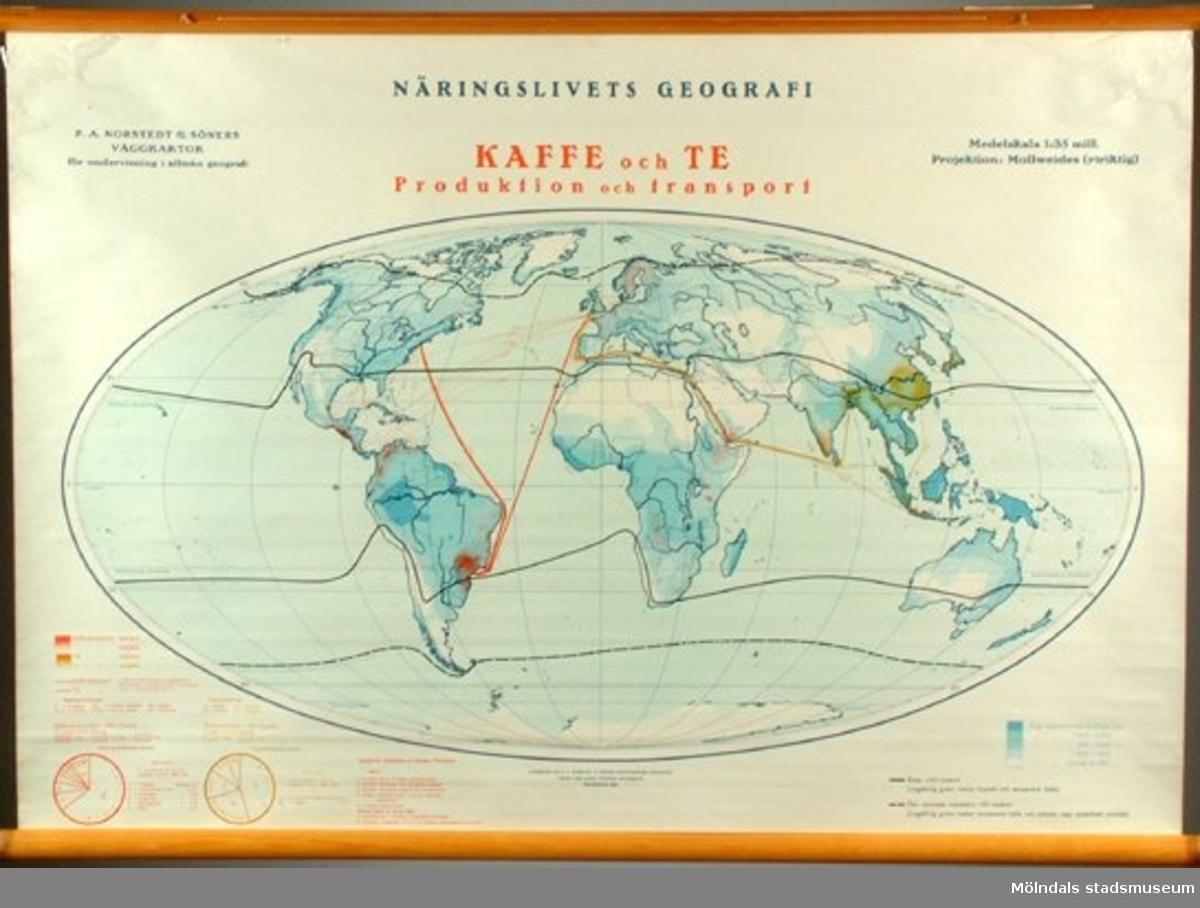 Visar kaffets och teets utbredning. Ingår i serien Näringslivets geografi.