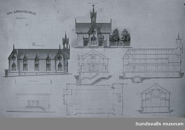 Ritning av den första sjömanskyrkan som låg i hörnet av Skolhusallén och Kyrkogatan. Den inrymde förutom en samlingslokal för 400 personer även ett sjömanshärbärge. Det var också den första samlingslokal som fick gasbelysning. Arkitekt: P. G. Sundius.