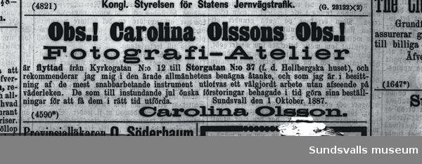 Annons för Carolina Olssons fotoateljé.