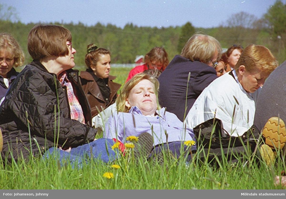 Personal från Kultur och fritid sitter i gräset. Nina Hellkvist (i ljusblå blus) solar sig. På Ninas vänstra sida sitter Pia Persson (i vit jacka).