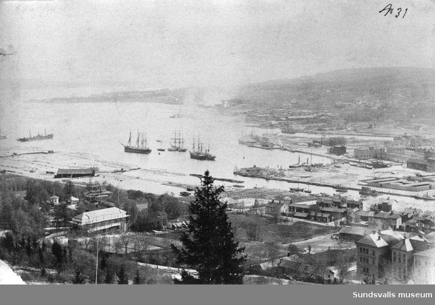 Sundsvalls hamninlopp, panorama före branden 1888.