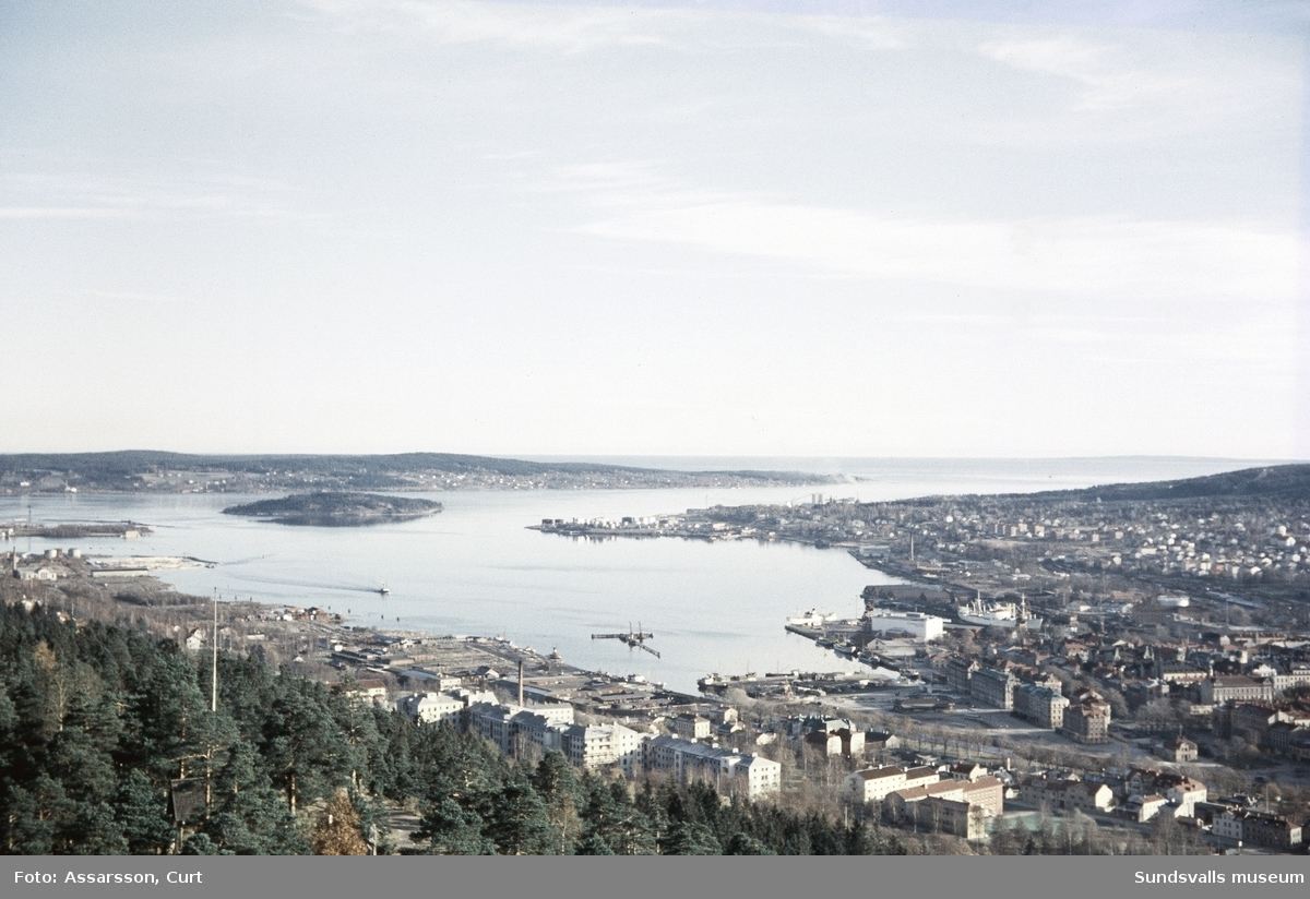 Vy över Sundsvalls hamn.