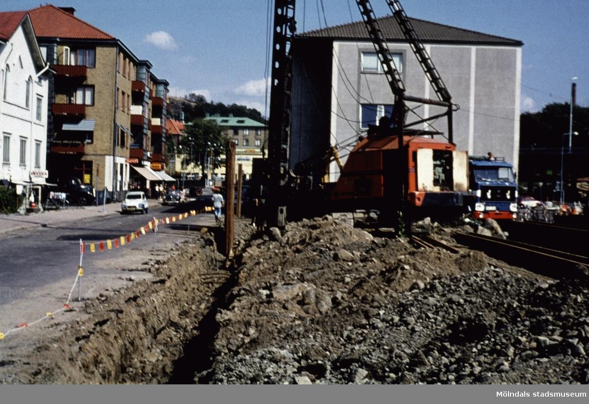 Bygge på Frölundagatan i Mölndal, 1970-tal.