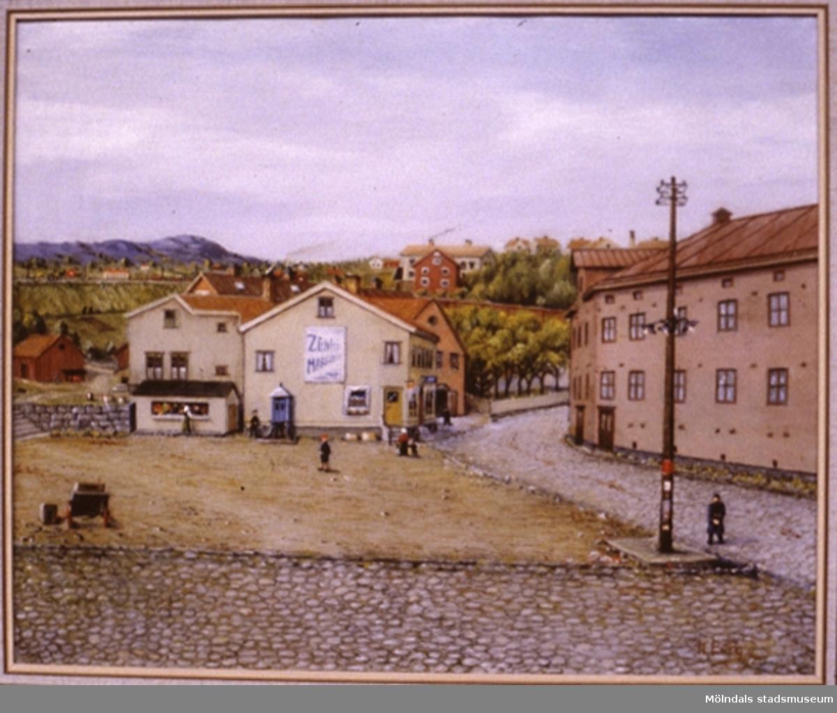 Affärsbyggnader i Mölndal.En tavla målad av den naivistiske mölndalskonstnären Knut Berg.