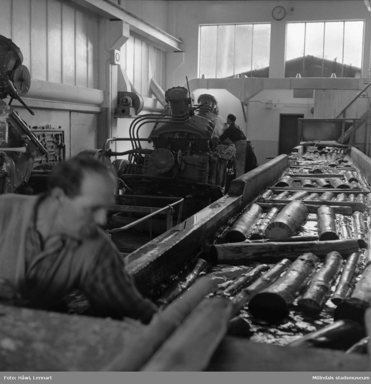 Män i arbete vid sliperiet på Papyrus i Mölndal, 6/5 1955.