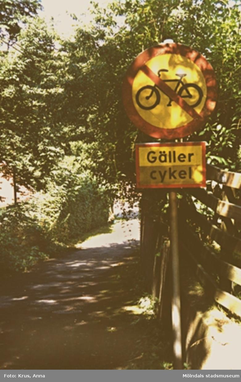 Forsåker. Cykelförbudsskylt.
