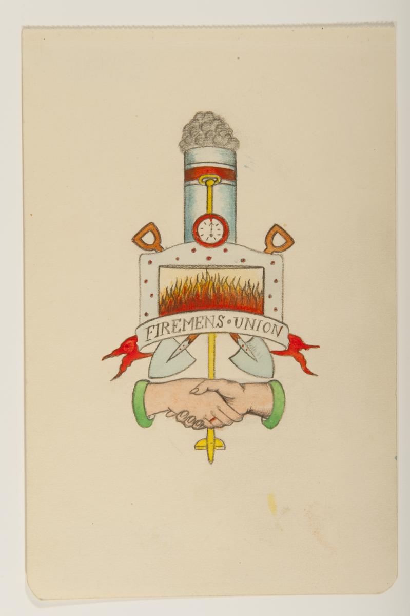 """Tatueringsförlaga. Överst en rykande skorsten, en öppen eldningslucka med två korslagda skyfflar i bakgrunden och en banderoll med påskriften """"FIREMENS UNION"""". Underst två händer i ett handslag."""