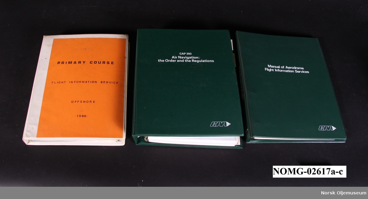a. MANUAL OF AEREDROME FLIGHT INFORMATION SERVICES b. PRIMARY COURSE FLIGHT INFORMATION SERVICES c. CAP 393 AIR NAVIGATION: THE ORDER AND THE REGULATIONS