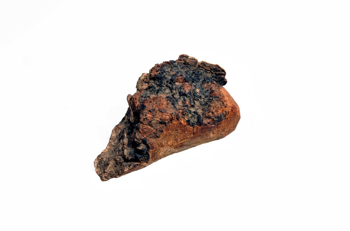 """1 stk birke """"tunder"""".  Et stk. birketunder - en svampaktig utvekst paa bjerketræ - anvendt av en bygdekvaksalver mot diarrhoe, idet man av stykket skavet et pulver der blandedes i maten til den mavesyke.   Anvendt av """"Ohnstad-Lisa"""" paa Hermansverk og gave fra hende ved distriktslæge F.A. Heiberg, Leikanger."""