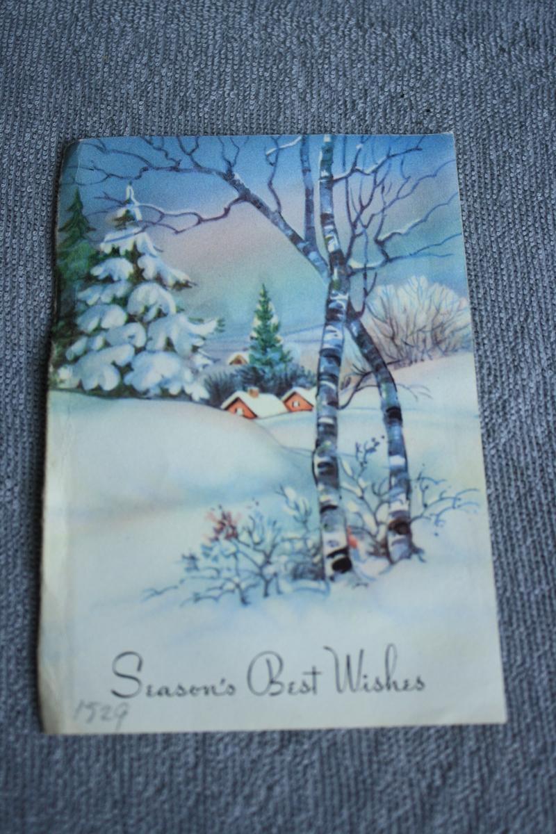 Truleg halvdel av eit julekort med vitermotiv og engelsk tekst, brukt som bokmerke i bok KSF.011039.