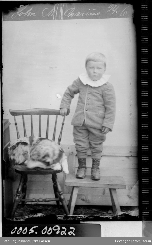 Portrett av en gutt og en hund.