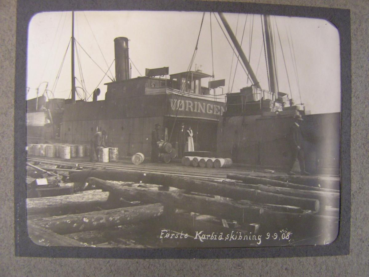 Bygging av karbidfabrikken på Tangen. Kragerø