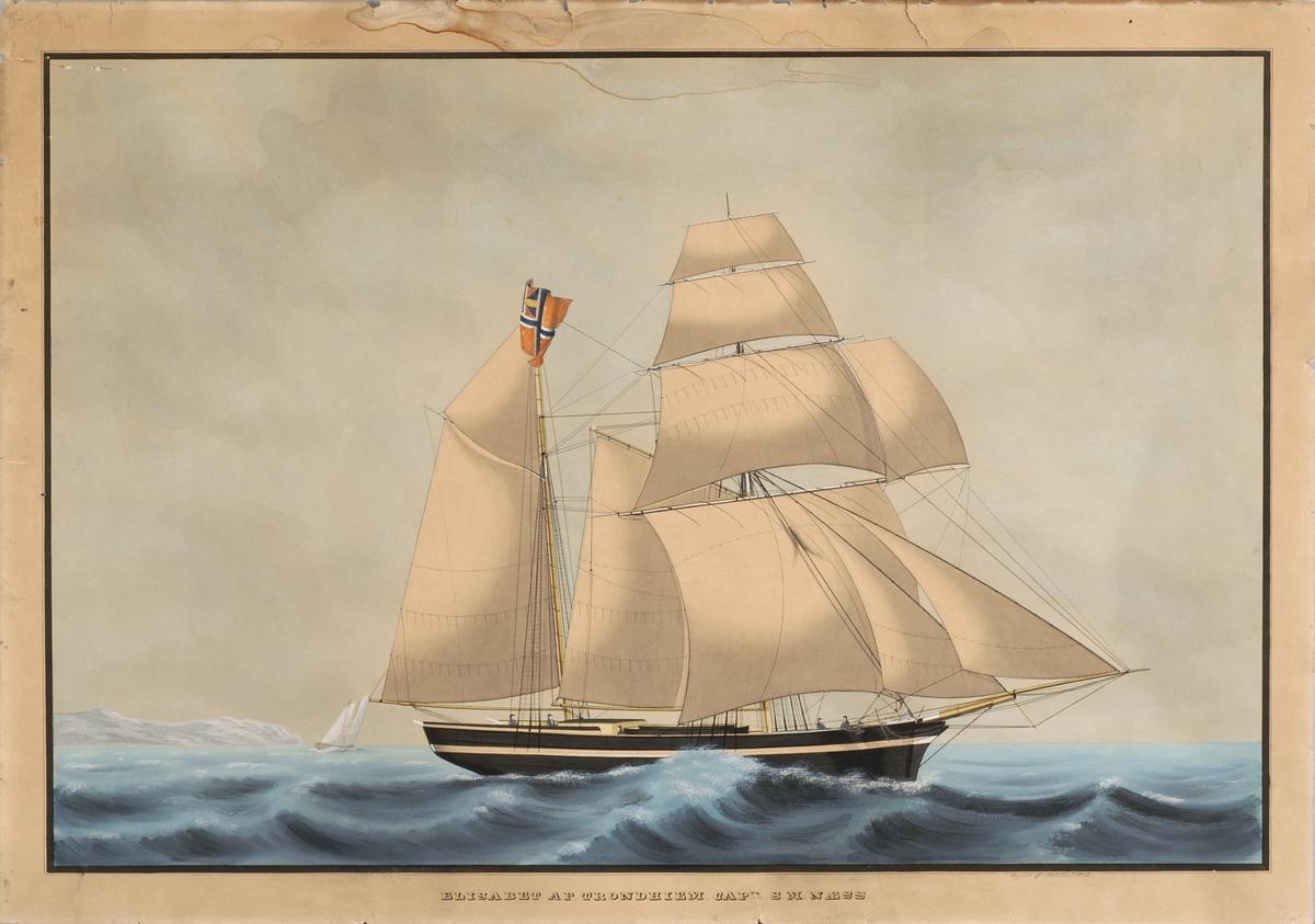 Fartøyet Elisabeth av Trondhjem med fulle seil.