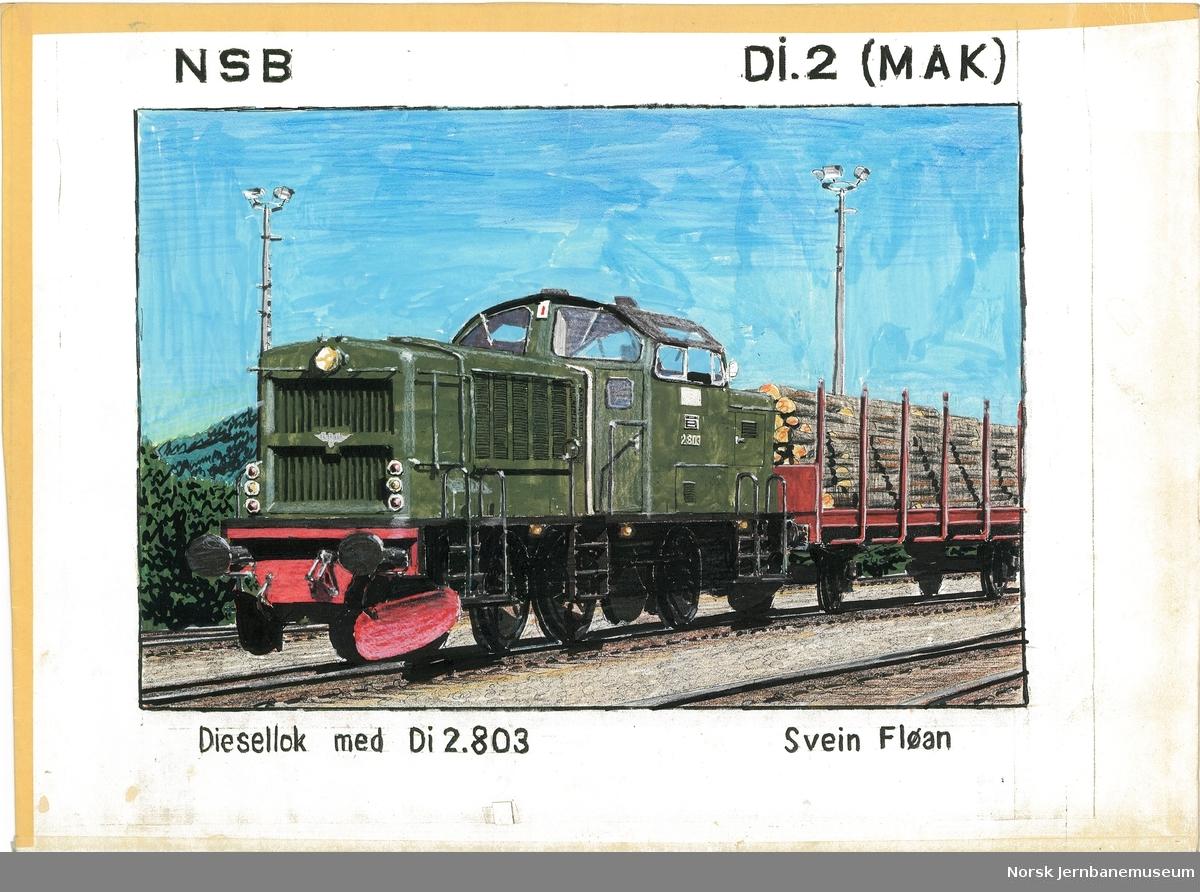 """Tegning """"NSB Di2 (MAK) Diesellok med Di 2.803"""" tegning på papir med tape rundt kantene"""