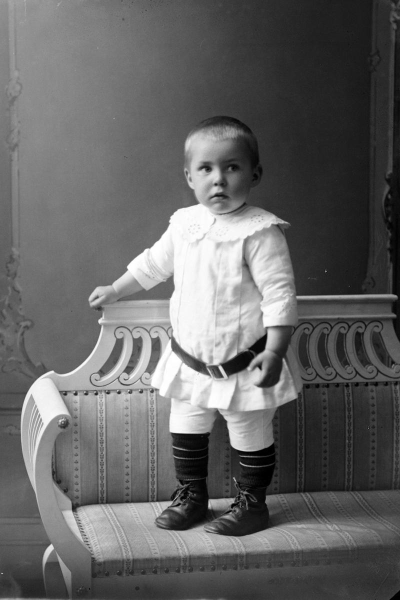 Studioportrett av et lite barn stående på en benk.