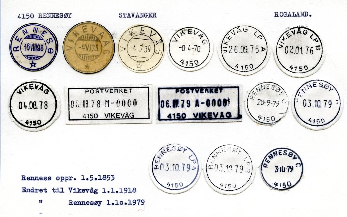 Stempelkatalog 4150 Rennsøy (Rennesø, Vikevaag, Vikevåg), Stavanger, Rogaland