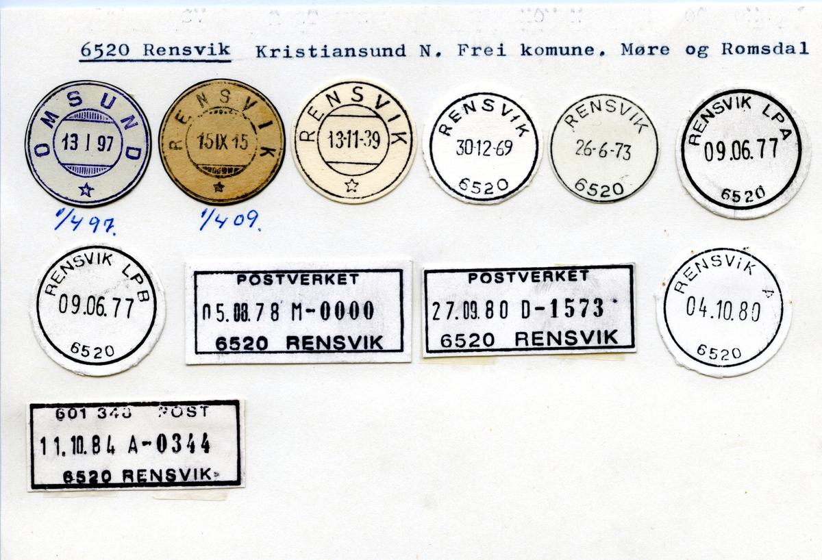 Stempelkatalog 6520 Rensvik (Omsund), Kristiansund, Frei, Møre og Romsdal