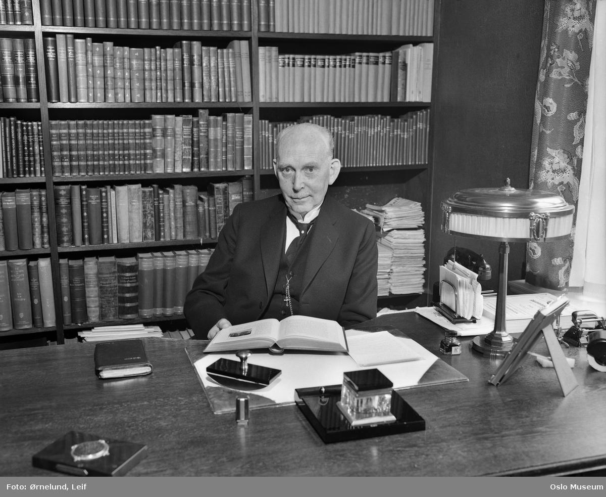 portrett, mann, professor, sittende ved skrivebord, bokhyller